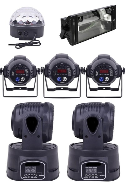 Quenlite Free Paket-6 Sahne Işık Sistemi Seti ( Top Küre Led Par Moving Head Robot)