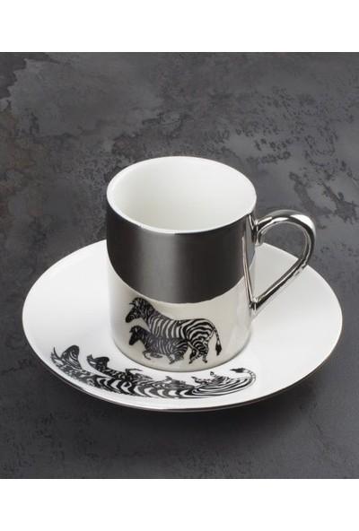 Acar Aynalı Porselen Zebra 2'Li Kahve Seti