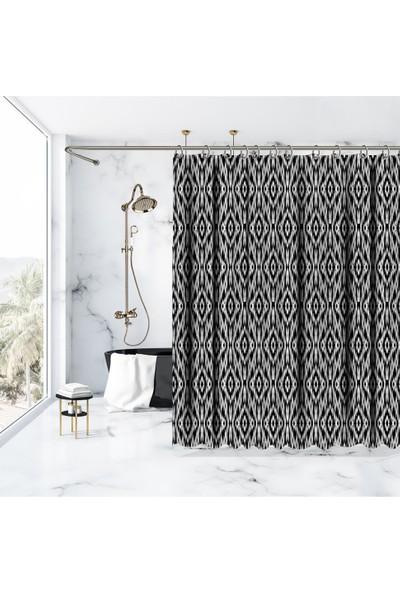 Henge Siyah Beyaz Renkliİkat Desenli Duş Perdesi