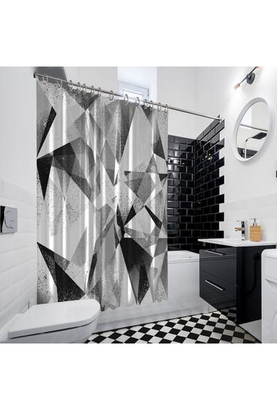 Henge Geometrik Siyah Ve Beyaz Arka Plan Desenli Duşperdesi