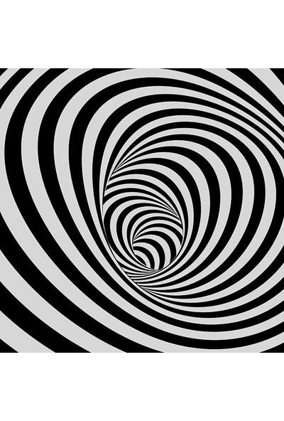 Henge Tünel Siyah Ve Beyaz Çizgili Arka Plan Desenli Duşperdesi