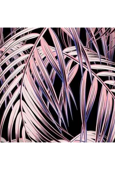 Henge Siyah Arka Plan Etkili Palmiye Yaprak Desenli Duşperdesi