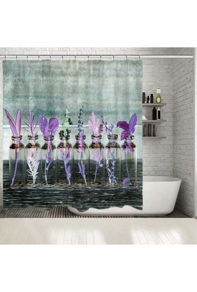 Henge Mor Renk Etkili Tüy Ve Bahar Çiçeği Desenli Duşperdesi