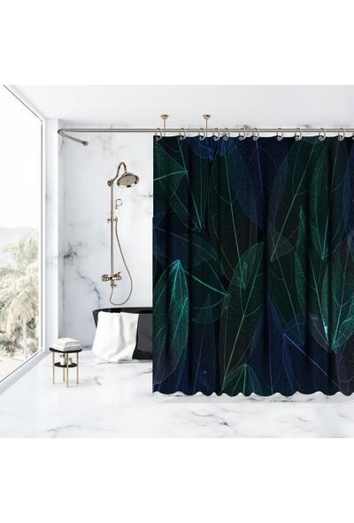 Henge Yeşil Tropik Yapraklı Hafif Görünüm Desenli Duşperdesi
