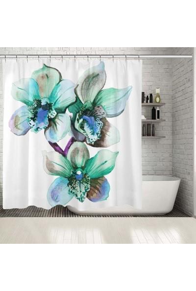 Henge Suluboya Etkili Yeşil Tonlarda Orkide Çiçek Desenli Duşperdesi