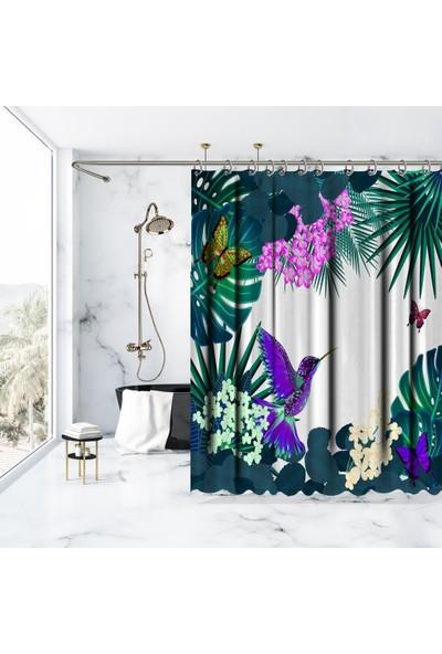 Henge Tropik Yaprak ve Çiçek Üzerine Mor Kuş Kelebek Desenli Duşperdesi