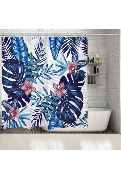 Henge Mavilerden Büyüyen Palmiye Yapraklar Desenli Duşperdesi