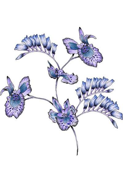 Henge Lila ve Morlu Uzun Yapraklar Desenli Duşperdesi