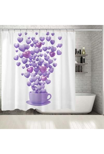 Henge Lila Renklerle Kahve Fincanından Havalanan Kalpler Desenli Duşperdesi