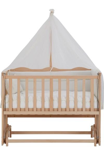 Babycom Anne Yanı Doğal Boyasız Ahşap Kademeli Beşik 70x130 - Tekerlekli + Uyku Seti