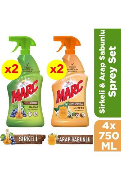 Marc Sirkeli Banyo Spreyi & Marc Arap Sabunlu Mutfak Spreyi - 750 ml x 4 Adet