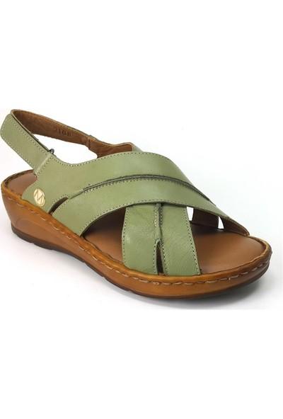 Messimod 2108 Günlük Kadın Sandalet Açık Yeşil