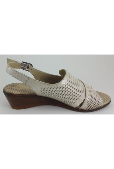 1200 Mammamia Günlük Kadın Sandalet Bej Simli