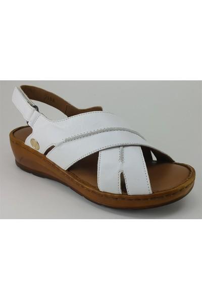Messimod 2108 Günlük Kadın Sandalet Beyaz