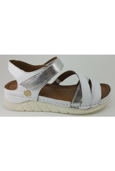3554 Messimod Günlük Kadın Sandalet Beyaz