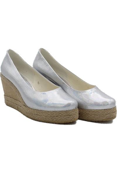 Gökçe Kundura Keten Hasır Yüksek Topuk Ayakkabı 42