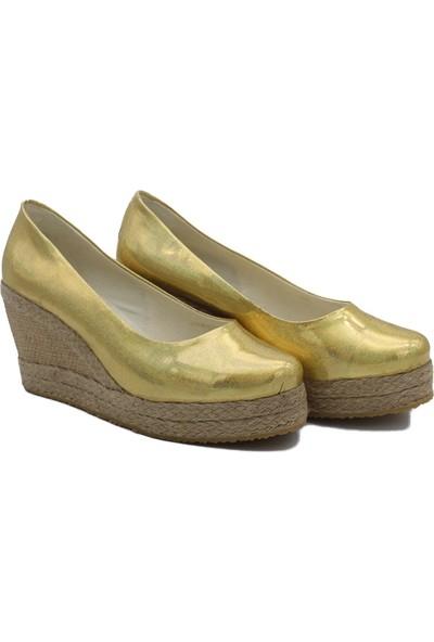 Gökçe Kundura Keten Hasır Yüksek Topuk Ayakkabı 35