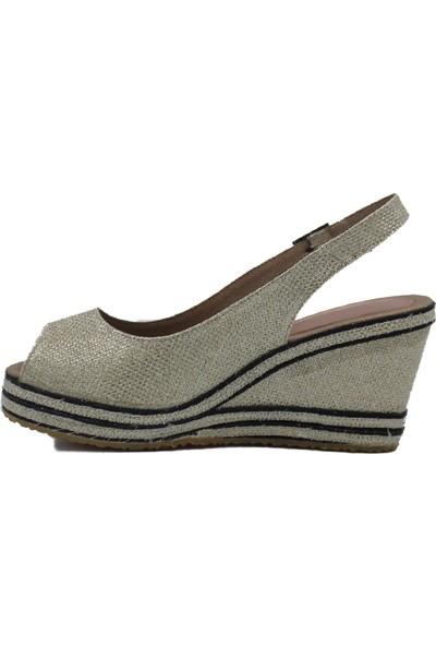 Gökçe Kundura Keten Hasır Sandalet 34