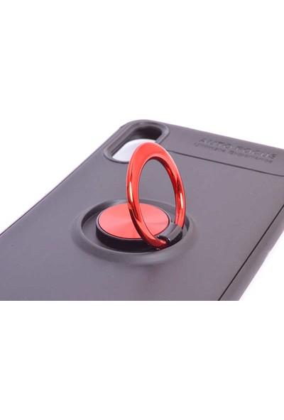 Case 4U Samsung Galaxy A01 Kılıf Yüzüklü Darbeye Dayanıklı Arka Kapak Ravel Siyah