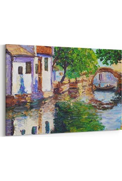 Shop365 Nehir Kenarındaki Evler Kanvas Tablo 30 x 20 cm SA-1047