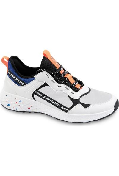 Jump 24699 Beyaz Siyah Turuncu Erkek Spor Ayakkabı