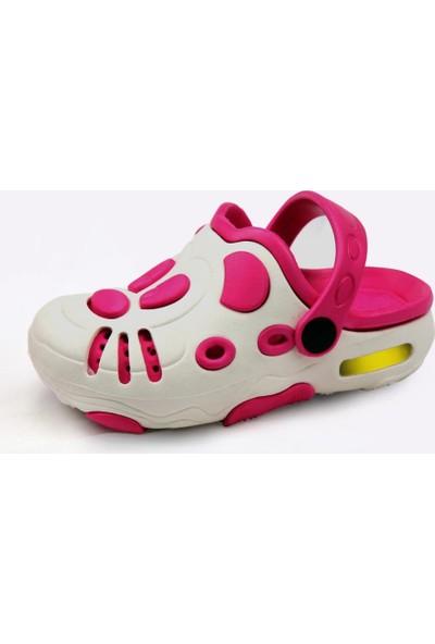 Gigi Kız Çocuk Işıklı Beyaz/Fuşya Terlik Sandalet
