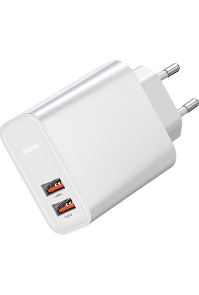 Baseus CCFS-E02 Speed Dual Qc 3.0 U+U 30W Hızlı Şarj Adaptör - Beyaz