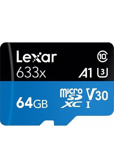 Lexar 64 GB 633X A1 U3 V30 4K Micro SD Hafıza Kartı + Adaptör (95MB/S)