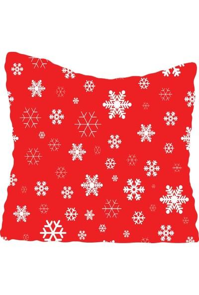 Lyn Home Küçük Kar Tanesi Kırmızı Yastık Kılıfı 42x42