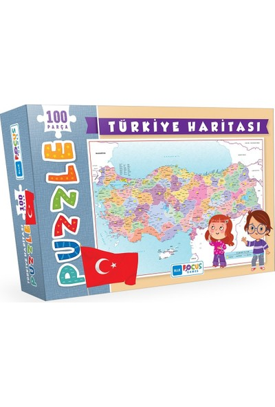 Blue Focus Türkiye Haritası 100 Parça Puzzle