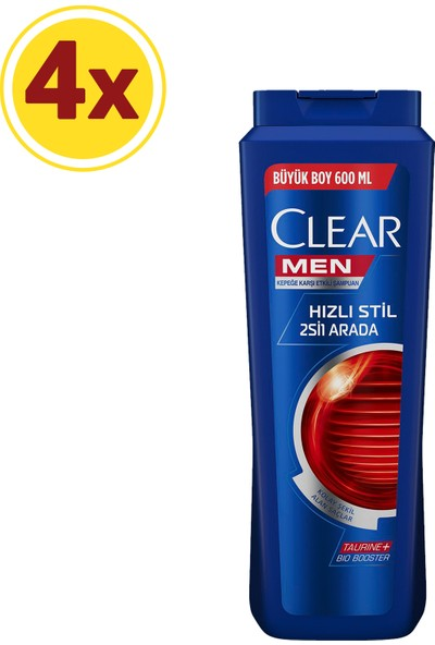 Clear Men Hızlı Stil 2si1 Arada Şampuan 600ml x4