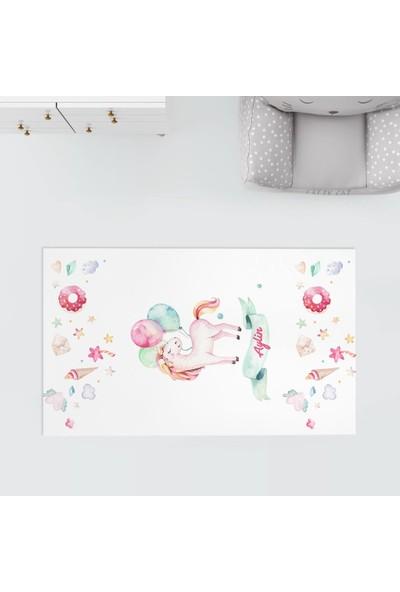 Homamia Kişiye Özel Dijital Baskı Halı Balonlu Unicorn 80 x 100 cm