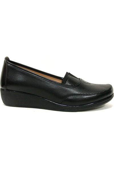 Annamaria 016 Siyah Dolgu Topuk Comfort Kadın Ayakkabı