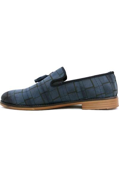 Darking 007 Lacivert Mavi Püsküllü Bağcıksız Casual Erkek Ayakkabı