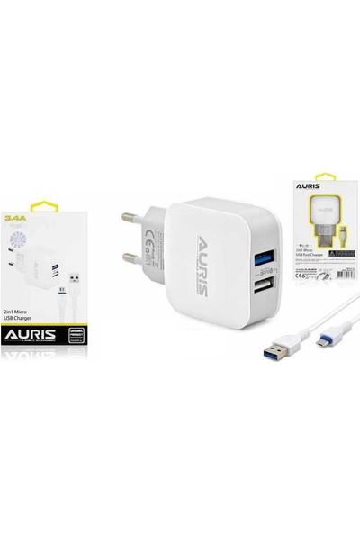 Auris 3.4A Çift USB Adaptör + Micro USB Kablo