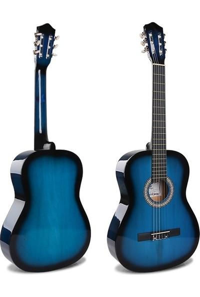 Sanchez 4/4 Sap Ayarlı Klasik Gitar Seti (Gitar-Kılıf-Metot-Pena) - Mavi
