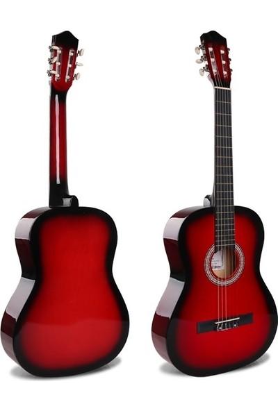 Sanchez 4/4 Sap Ayarlı Klasik Gitar Seti (Gitar-Kılıf-Metot-Pena) - Kırmızı