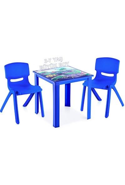 Banadabul Fiore Çocuk Masa Sandalye Takımı Mavi Araba H50