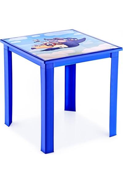 Banadabul Fiore Çocuk Masa Sandalye Takımı Mavi Karga H50