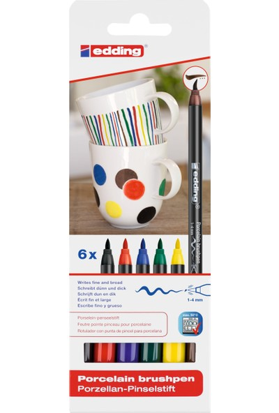 Edding 4200 Porselen Boyama Kalemi 6'Lı Set Standart Renkler