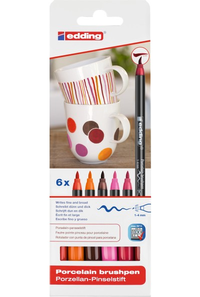 Edding 4200 Porselen Boyama Kalemi 6'Lı Set Sıcak Renkler