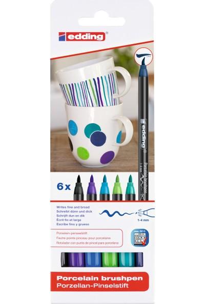 Edding 4200 Porselen Boyama Kalemi 6'Lı Set Soğuk Renkler