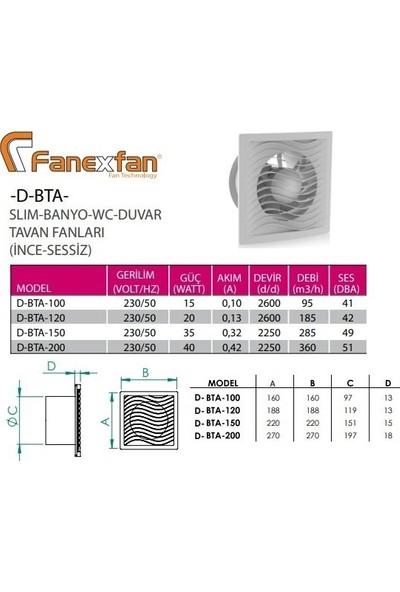 Fanex D-BTA-120 Slim Banyo Wc Duvar Tavan Fanı