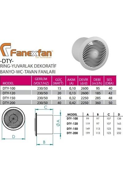 Fanex DTY-120 Yuvarlak Banyo Wc Duvar Tavan Fanı