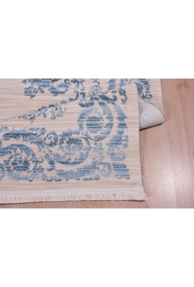 Crea Saf Ipek Halı Akrilik Pamuk Mavi Beyaz 200x290 6m2 Halı Sln 6508