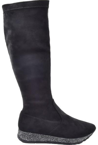 Kuum K 6612 Siyah Streç Kadın Çizme