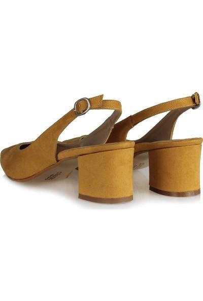 37 Numara Kalın Topuklu Stiletto Arkası Açık Hardal Süet 41