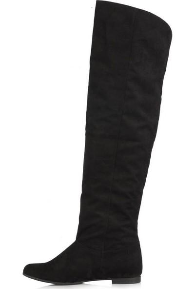 37 Numara Siyah Süet Dizüstü Binici Kadın Çizme 44