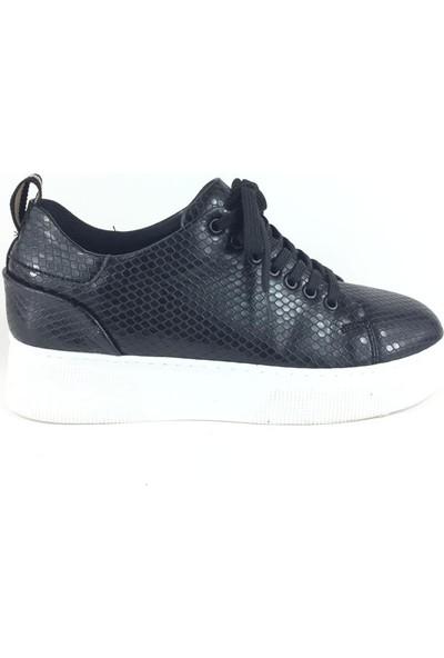Cudo Siyah Petek Desen Kadın Sneaker
