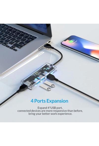 Orico USB Hub Çok Yüksek Hızlı USB 3.0 Splitter Şeffaf